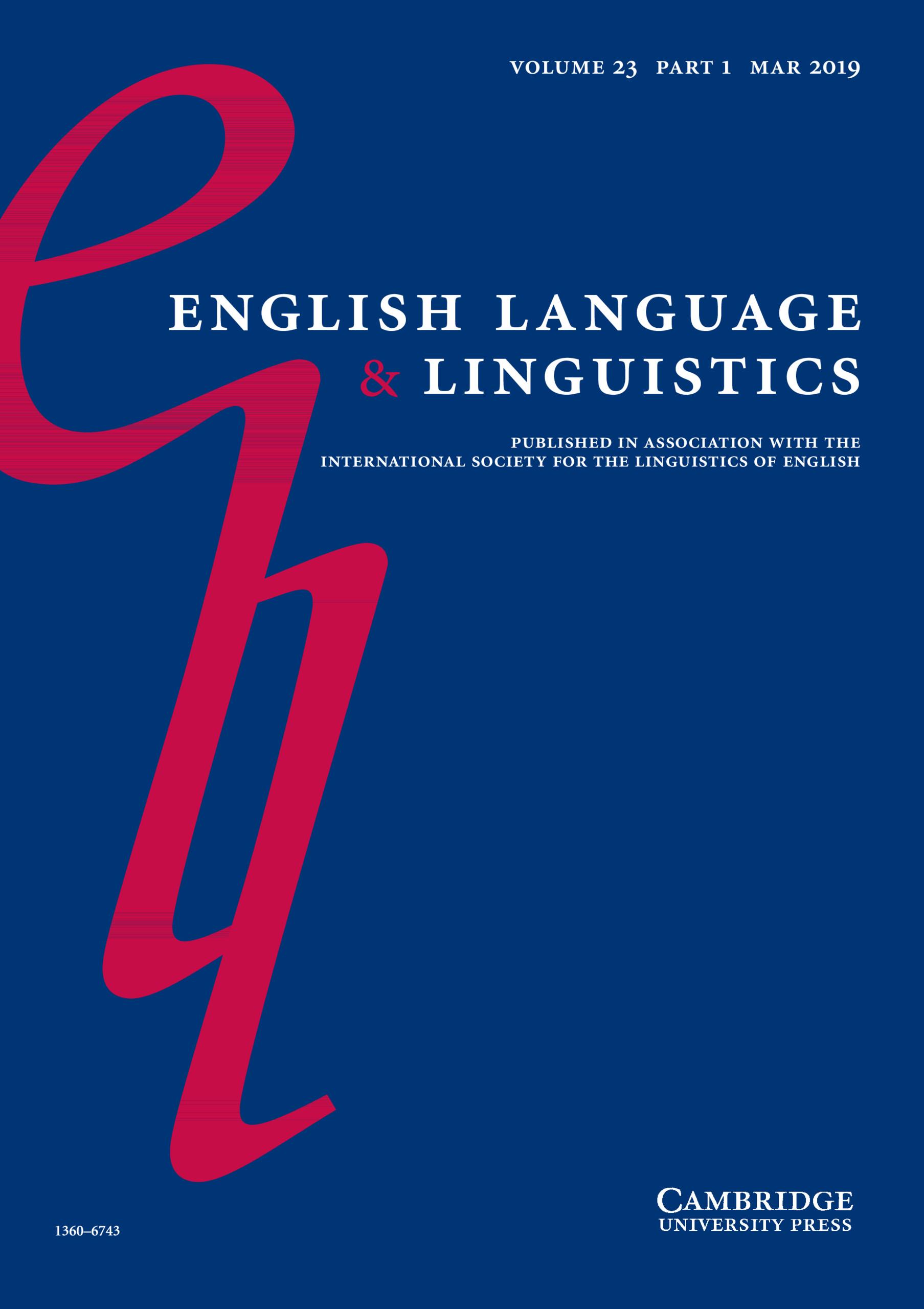 Cover photo of English Language & Linguistics 23.1
