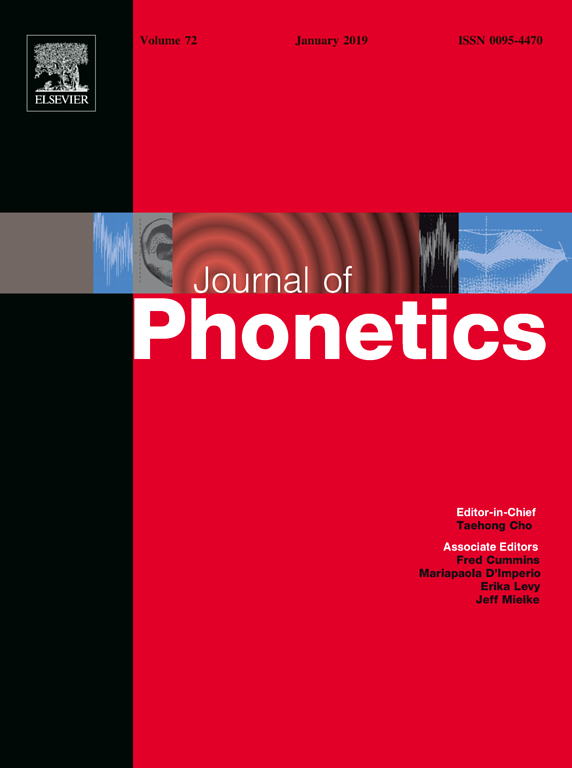 Cover photo of Journal of Phonetics 73