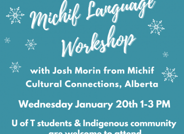 Teal-blue poster showing Michif workshop contact details (included in this post)